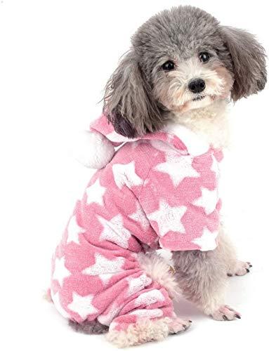 Kleine hond pyjama jumpsuit puppy hoodie mantel kleding voor honden meisjes jongens winter warme pyjama's outfits zachte katoen huisdier totale kleding grijs XXL (controleer de grootte van de borst en rug voor de bestelling) - Mini S (borst: 32 cm, rug: 20 cm)_roze