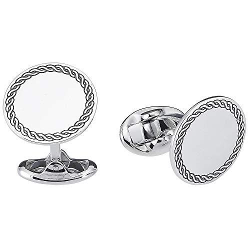 Vinani Design Manschettenknöpfe rund Seil Kreis geschwärzt glänzend 925 Sterling Silber Herren Anzug Hemd 2MAC