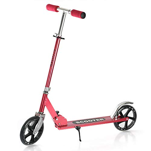 Folding Scooters with 200mm Large Wheels, Kick Scooter for Kids 10 Years and up/Adults + Adjustable Height + Shoulder Strap, Smooth Ride Commuter Portable Scooter Best Gift for Teens (Red Scooter)