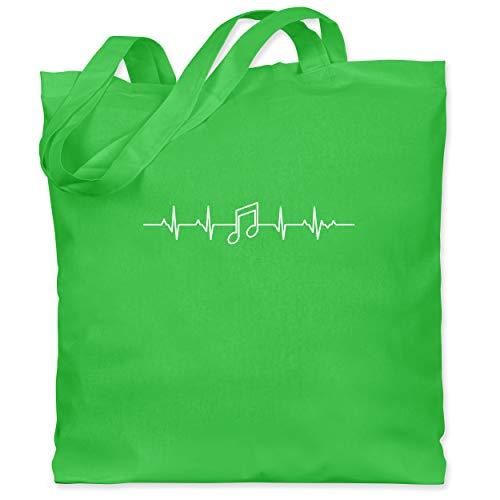 Shirtracer Symbole - Herzschlag Musik Note - Unisize - Hellgrün - bedruckter stoffbeutel - WM101 - Stoffbeutel aus Baumwolle Jutebeutel lange Henkel