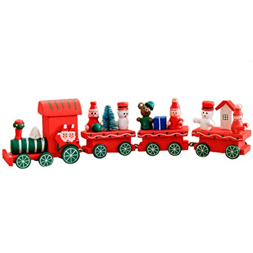 OULII Cute Wooden Mini Train Ornaments Kids Gift Toys for Christmas Party Kindergarten Decoration (Red)