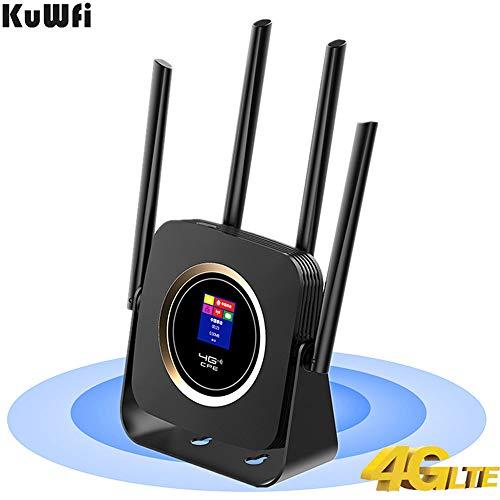 KuWFi mobiele router 4G LTE WLAN 300: LTE WLAN router 4G met accu 3000 mAh simkaart LTE/FDD router draadloze modem externe hotspot