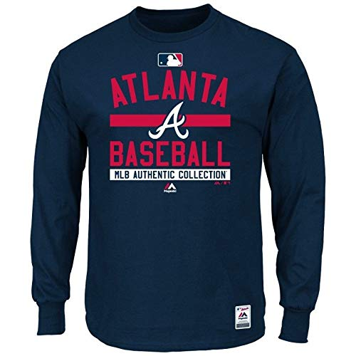 Majestic MLB Atlanta Braves Authentic Long Sleeve Langarm Shirt T-Shirt Baseball Jersey Trikot (S)