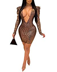 Brown Long Sleeves Deep V Plunge Neck Sequin Bodycon