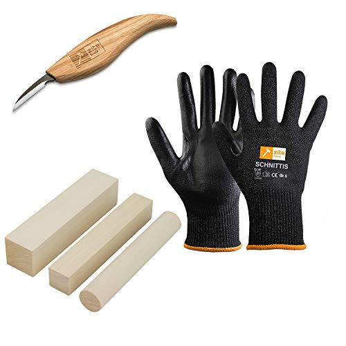 Zite Tools Schnitz-Set - Hochwertiges Schnitzmesser + Schnitz-Holz Linde + Schnittschutz-Handschuhe Gr. 5 - Für Kinder und Erwachsene