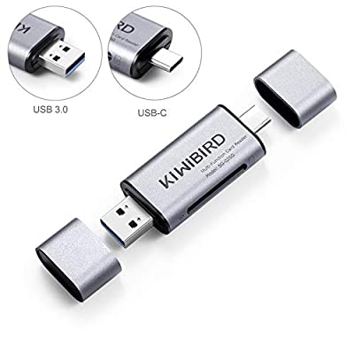 KiwiBird USB Type C & USB 3.0 Card Reader 8-in-1 for SD, SDHC, SDXC, MMC, RS-MMC, Micro SD, Micro SDHC, Micro SDXC and UHS-I Cards – Aluminium Space Grey