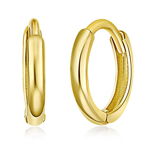 14k Yellow Gold 1.5mm Thickness Huggie Cartilage Earrings (8 x 8 mm)