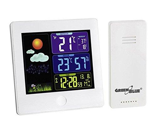 GreenBlue Draadloos weerstation met buitensensor, kalender, hygrometer, thermometer, DCF, wekker, batterij en netvoeding wit