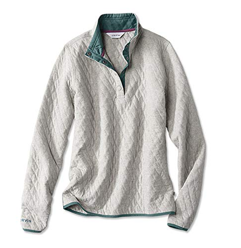 Orvis Women's Outdoor Quilted Snap Sweatshirt, Light Gray, X Large