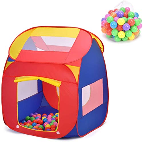 Costzon Ball Pit Play Tent for Kids, 100 Balls Included, Portable Baby Play House for Toddler Indoor & Outdoor USe, Easy Pop Up Fold into a Carrying Case (Red & Purple)