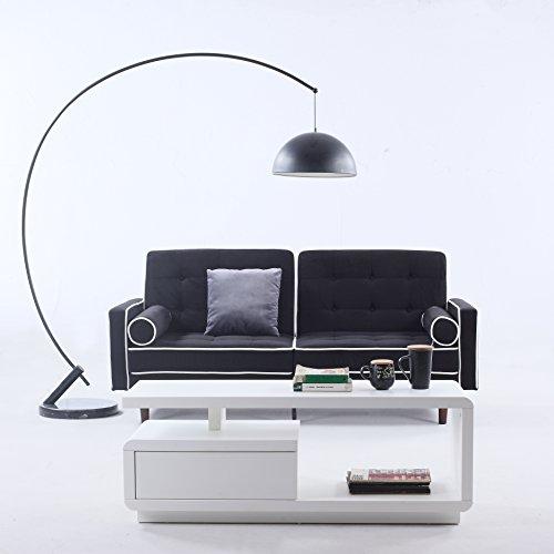 Divano Roma Furniture Mid-Century Modern Two Tone Splitback Tufted Velvet Futon (Black), 75' W x 30'...