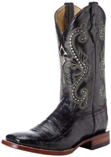 Ferrini Men's Print Belly Alligator S-Toe Western Boot,Black,11.5 EE US