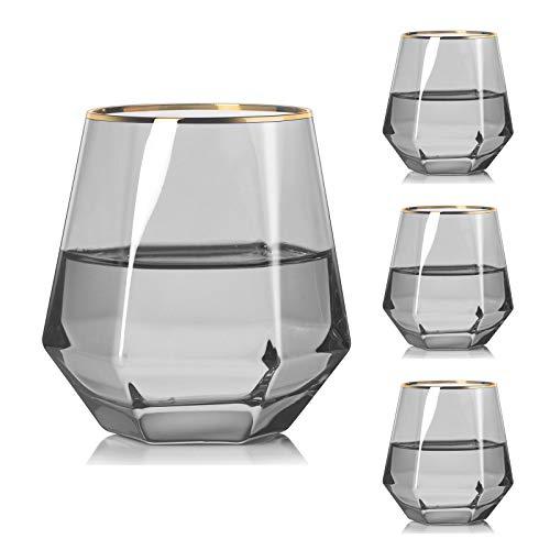 Vaso De Whisky De Diamante Inclinados, Copa Conac De Wiskey De 280 Ml, Lujo Cristal Set De Whiskey Basos, Vidrio Glass Licor para Vaso De Brandy/Coctel/Cocktail/Martini/Cocteleria,Smoky Gray