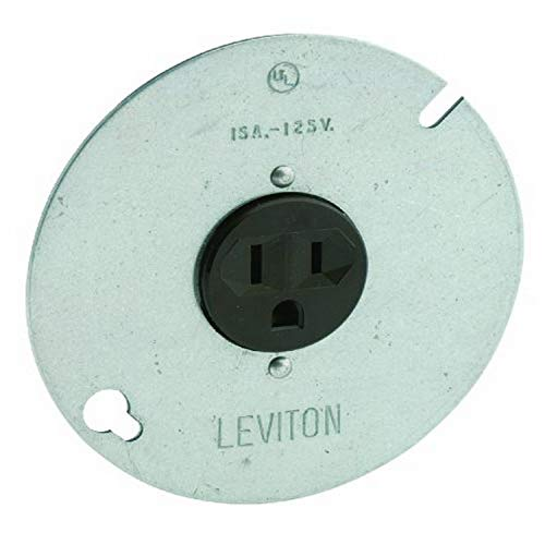 Leviton 5059 15-Amp, 125 Volt, 3-Wire Round Type Single Receptacle On 4-Inch Cover, Zinc Plated Steel , Green