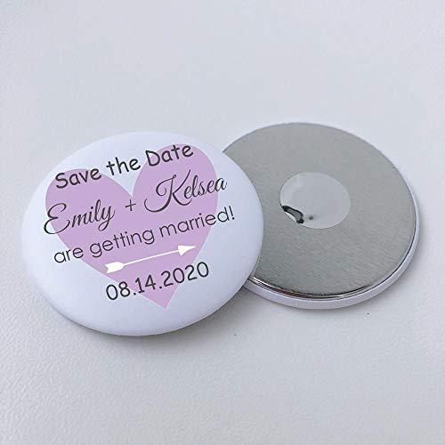 BLOUR 70pcs Personalisierte Hochzeit Save The Date Magnete Benutzerdefinierte Verlobung Hochzeit Ankündigung Metall Runde Kühlschrank Magnet 58mm 2,25 Zoll