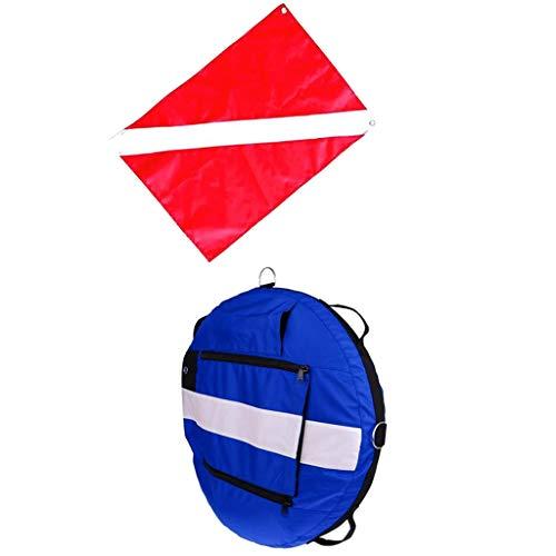 sharprepublic Flotador Inflable Flotante del Agua de La Boya del Buceo Libre de La Seguridad con La Bandera del Buzo Abajo - Azul