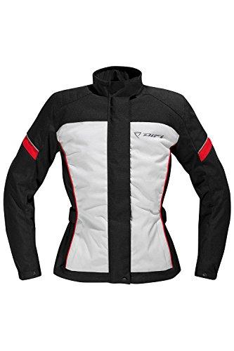 Difi TINA AEROTEX® Motorradjacke Damen Farbe schwarz/hellgrau/rot, Größe 38