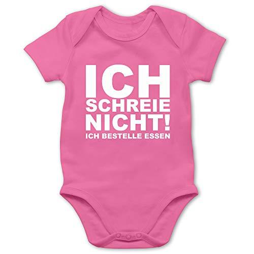Shirtracer Sprüche Baby - Ich Schreie Nicht, ich bestelle Essen! - 12/18 Monate - Pink - Body mit lustigen sprüchen - BZ10 - Baby Body Kurzarm für Jungen und Mädchen