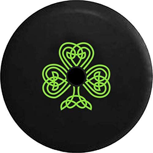Pike Outdoors JL Series Spare Tire Cover Backup Camera Hole Green Celtic Knot Shamrock Irish Heritage Black 32 in