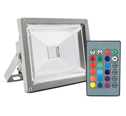 GZNIGHT 50W Outdoor Light Security Light RGB LED Night Light, High Powered RGB Color Change with Remote Control, IP65 Waterproof Dimmable Wall Washer Light, Flood Lamp 16 Colors 4 models