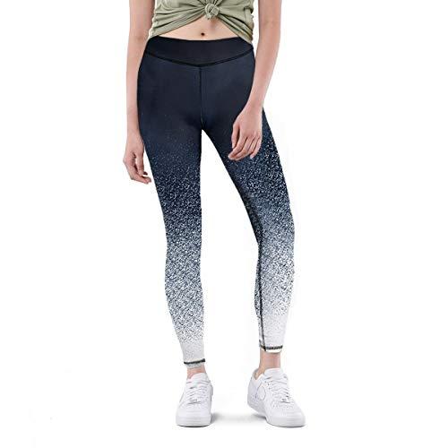 Mottise Sport, Leggins Mujer, Leggins Deportivos, Mallas Running, Mallas Mujer Deporte, Pantalón Yoga, Leggings Cintura Alta (S, Blanco/Negro)