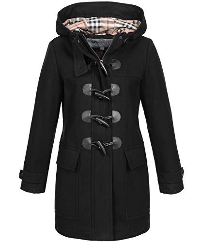 SOVENTUS FASHION Damen Dufflecoat Wollmantell Mantel mit Kapuze Wolle Kurzmantel schwarz Gr.M