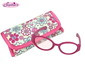 2 PIECE SET: Hot Pink Doll Glasses and Case INCLUDED: Pair Doll Glasses and Floral Print Eyeglass Case FEATURES: Use eyeglasses case for easy storage | Simplified packaging to give you the best price! | Designed in the USA FITS 18 INCH DOLLS: Sophia'...