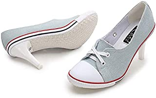 LQHYA Womens Shoes High Heels Shallow Pumps Lace Up Casual Loafer Pumps Leisure Denim Canvas Shoes Women Plus Size 34 41
