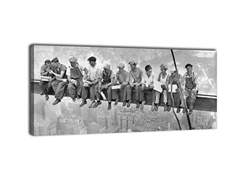 Dalinda Panorama Bild Nr. 249 Skylunch 100x40cm Wanddekoration Leinwand Wandbild Retro Foto Bauarbeiter Kunstdruck XXL-Wandbild Leinwandbild