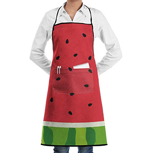 N\A Delantal con Dobladillo Impermeable con Bolsillo 52cm 72cm, Delantal Unisex Fruta Verde Rebanada de sandía con semilla y Piel Rojo Verano Bebé Diversión Dibujos Animados Abstractos