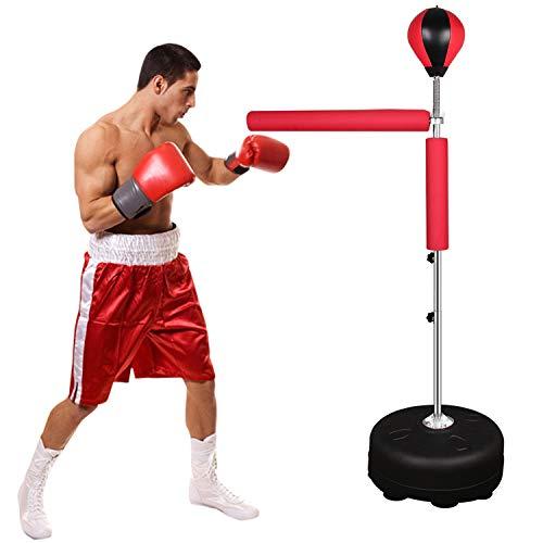 Punchingball Standboxsack Boxsack Set Höhenverstellbar Sandsäcke Punchingbälle Boxen Boxstand Punching Stand Punchingball Set mit Pumpe (Rot Schwenkarm)