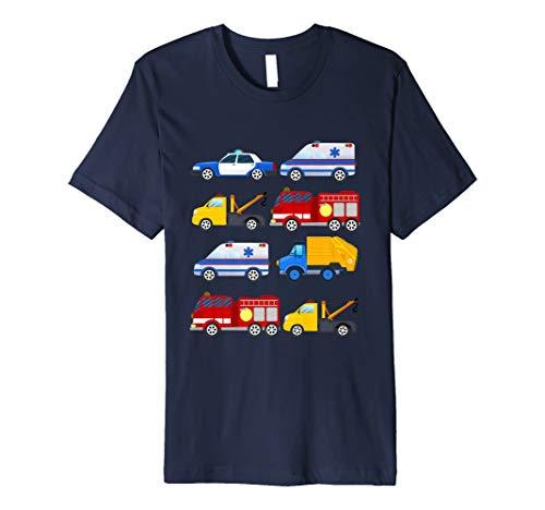3. Geburtstag Notfall Fahrzeuge Fire Truck Polizei Auto Tee