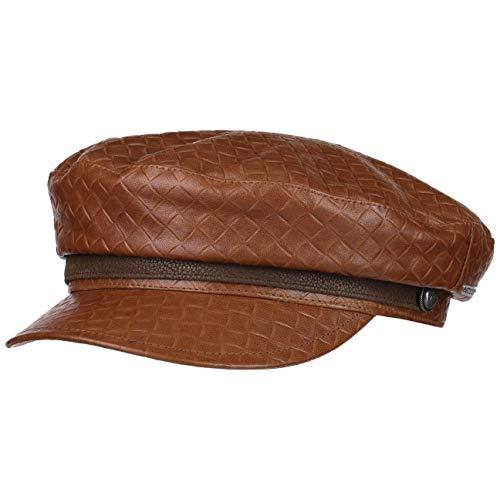 Stetson Gorra Embossed Leather Riders Mujer/Hombre - Made in Italy Marinera Baker Boy con Visera, Forro otoño/Invierno - XL (60-61 cm) marrón