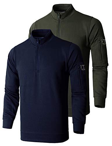 FULL TIME SPORTS® Mens 1/4 Zip Fleece Mock Neck Top - (Navy & Army Green, Medium)