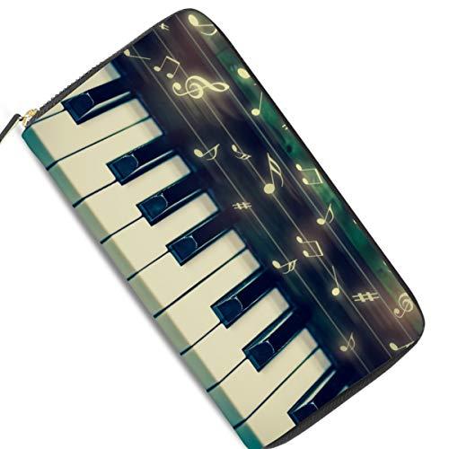 Ahomy Damen Geldbörse aus Leder mit Musiknoten- und Keyboard-Tasche mit Reißverschluss