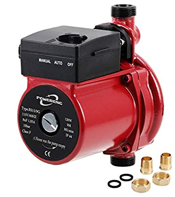 """POWERENG 110V Automatic Booster Pump 120W NPT 3/4"""" Domestic Hot Water Recirculating Pump Solar Heater Circulation System Shower&Tap (RS15/9 Red?"""
