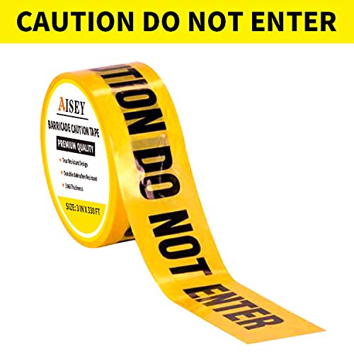 "Yellow Caution Tape Roll Do Not Enter, Halloween Caution Tape 3"" X 330 Feet - Safety Barrier Hazard Warning Barricade Tape for Danger/Hazardous Areas, Tear Resistant Design"