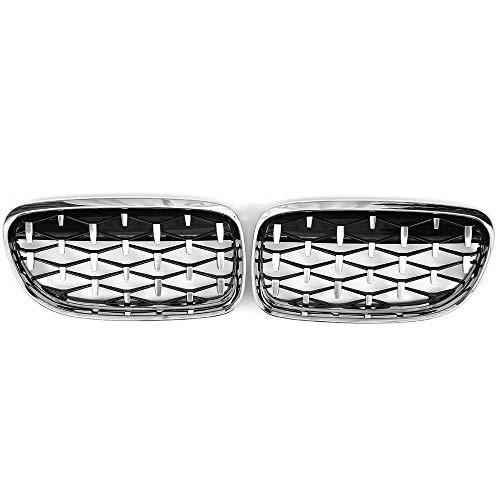 DSEB Parrillas de Carreras de Estilo de automóvil, Rejilla de riñón Delantero de Coches Estilo Negro/Diamante para BMW E90 E91 3-Series 2007 2011 2012 2013,Diamond Chrome