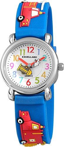 Kinderuhr Weiß Blau Rot Feuerwehr Silikon Analog Quarz Armbanduhr