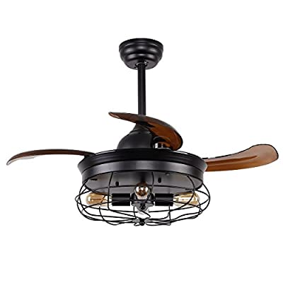 Ceiling Fan with Lights 34 Inch Black Rustic Ceiling Fan with Remote 3 Retractable Blades, 4 Lights Not Included