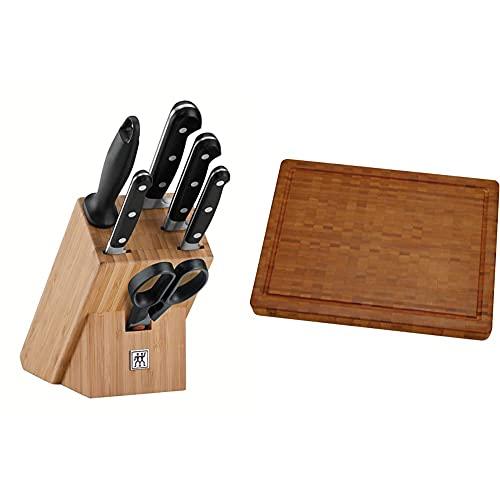 ZWILLING Messerblock, 7-tlg., Bambusblock, Messer und Schere aus rostfreiem Spezialstahl/Kunststoff-Griff, Professional S & 30772100 Schneidbrett, Bambus, mittel 36 X 25.5 X 3 cm