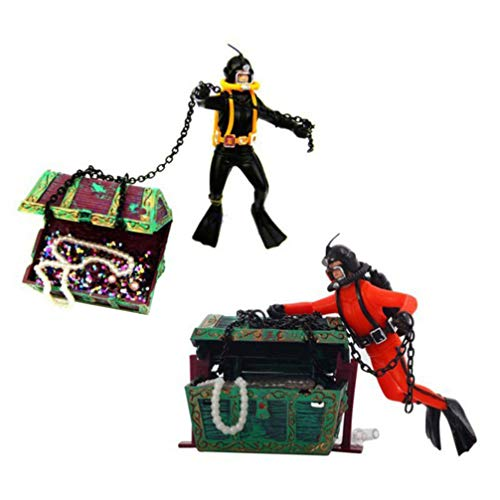 POPETPOP 2pcs Action Aquarium Ornament - Fish Tank Treasure Chest Undersea Treasure Chest Diver, Live-Action Aerating Fish Tank Decorations