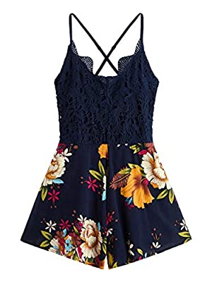 SheIn Women's Boho Crochet V Neck Halter Backless Floral Lace Romper Jumpsuit Medium Navy#1