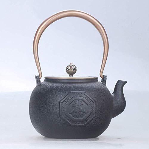 XUSHEN-HU Café Juegos de té Teteras moldeada Tetera de hierro fundido té ollas de hierro tetera de hierro Iron Pot Pot hierro olla de cobre cubierta de té de cobre Cultura doble de cobre 1.3L Sur Hier