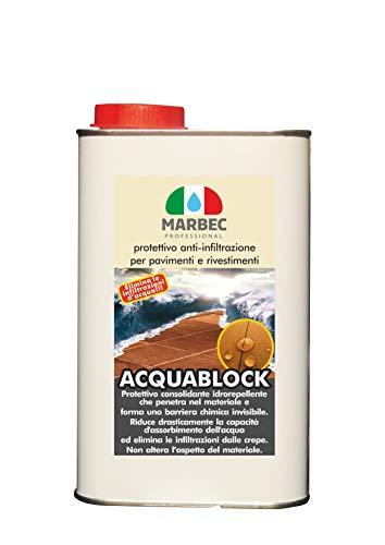 Marbec - ACQUABLOCK 1LT | Protettivo consolidante Anti infiltrazioni d'Acqua per Pavimenti e Rivestimenti