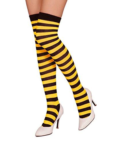 FORLADY Calcetines a rayas sobre la rodilla unisex Calcetines largos Calcetines a rayas sobre la pierna Medias a rayas de Halloween