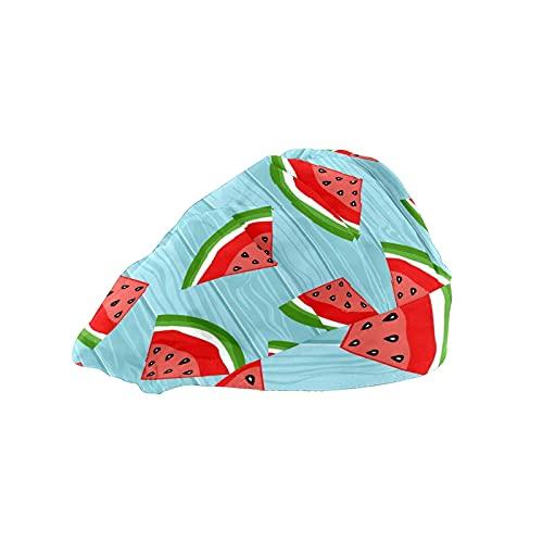 Gorra de mujer para cabello largo con banda elástica ajustable para el sudor Gorras de trabajo para hombres bufanda de cabeza impresa 3D Sandía madera azul
