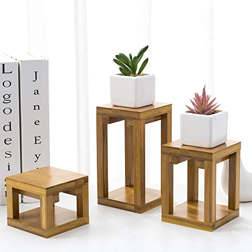 MyGift Mid Century Retro Beige Bamboo Flower Pot Planter Display Stand, Set of 3