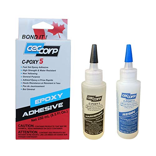 Two Part 5 Minute Epoxy Adhesive C-Poxy 5 by CECCORP is a 8.5 oz General Purpose Structural-unfilled-Fast Setting epoxy. Recommended for bonding Metals, Ceramics, Stone, Glass, Concrete, Wood, Fiber