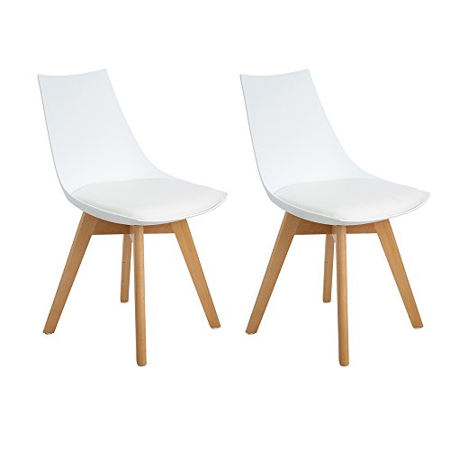 H.J WeDoo Lot de 2 Rétro Chaise Salle à Manger Design scandinave, chaises de Cuisine rembourrée Chaise avec Pieds en Bois et Assise en PU, Blanc